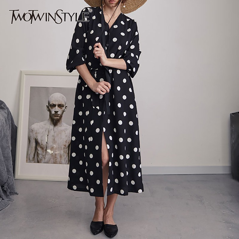 TWOTWINSTYLE Chiffon Polka Dot Dress Women V Neck High Waist Bandages Half Sleeve Long  Dresses Female 2019 Spring Fashion-in Dresses from Women's Clothing    1