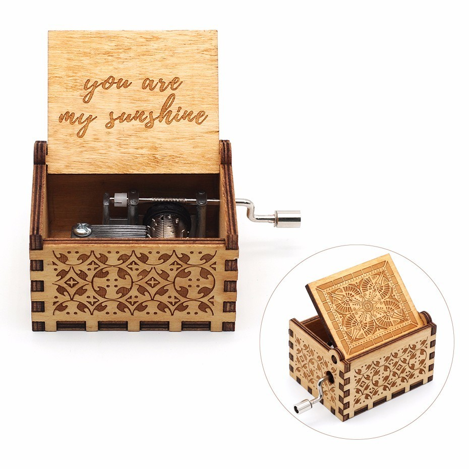 New Arrivals You are my sunshine star war Happy birthday game of throne wooden music box birthday party favors gift for kids image