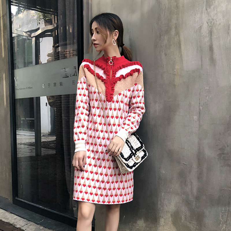 2018 Multi couleur volants Zipper demi col haut pull robe coeur paillettes Jacquard robe en tricot femme droite hiver robe