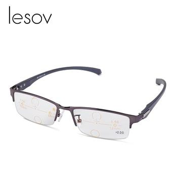 fcb2db2784 Gafas de lectura multifocales fotocrómicas Lesov lentes de lectura  progresiva para hombre y mujer lector de gafas muy cercano + 125 A + 300