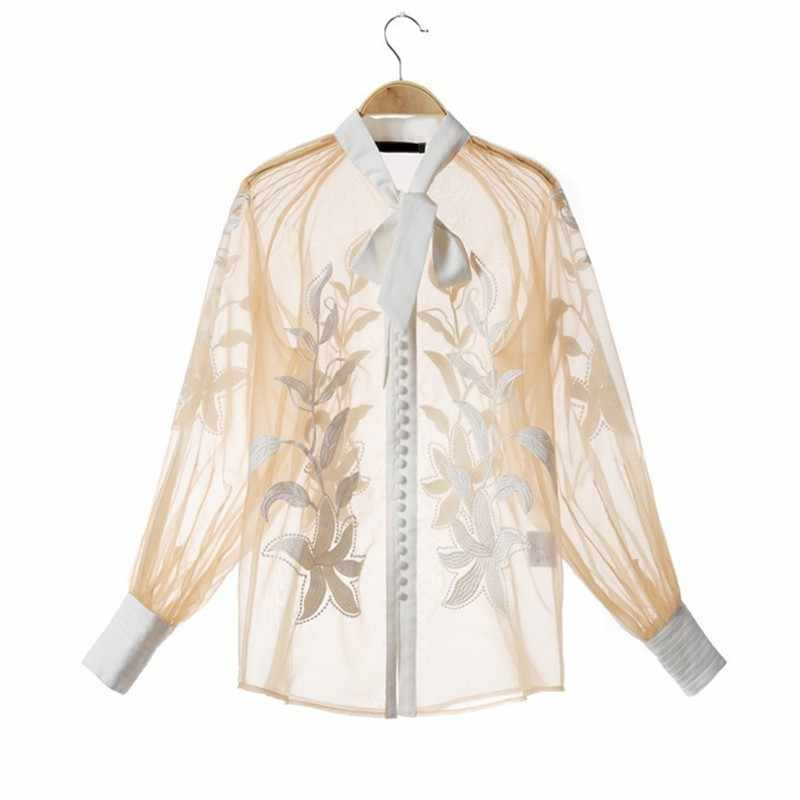 [MENKAY] Autumn Women's Suit Embroidery Perspective Lace Blouse Tops Female High Waist White Wide Leg Shorts Two Piece Set