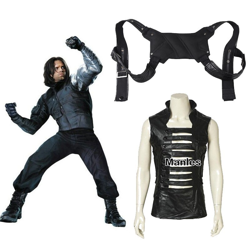 Captain America 2 Winter Soldier James Buchanan Barnes Cosplay Costume Adult Halloween Only Vest Shirt Belt Accessories Leather