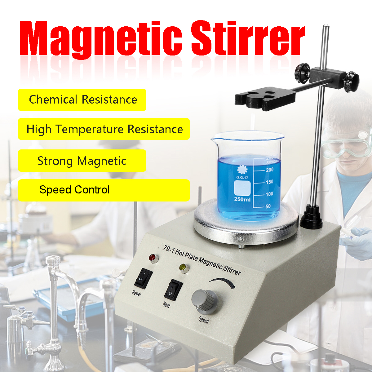 79-1 1000ml Hot Plate Magnetic Stirrer Lab Speed Variable Control Mixer 110/220V No Noise No Vibration US/EU/AU Plug Smooth Run