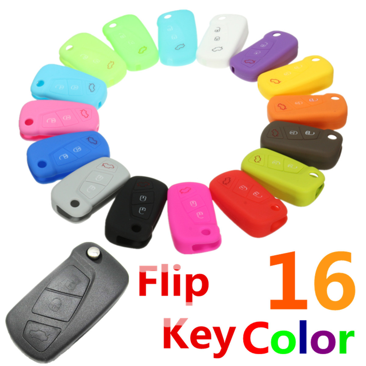 16 di colore Del Silicone 3 Pulsante di Vibrazione A Distanza Chiave Caso Fob Coperchio di Protezione Supporto Per Ford KA