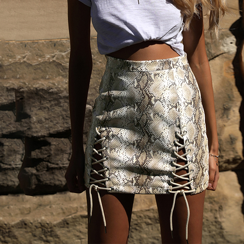 2019 New Fashion Sexy Women PU Mini Skirt Snake Skin Printed Lace-Up Hollow Out Bandage High Waist Bodycon Skirt Faldas Saia