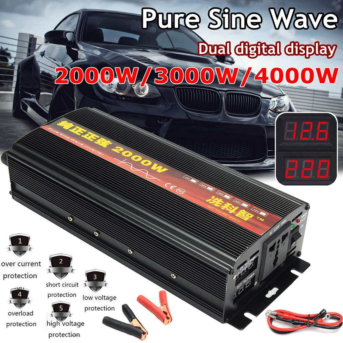 Inverter 12V 220V 2000/3000/4000W Voltage transformer Pure Sine Wave Power Inverter DC12V to AC 220V Converter + 2 LED DisplayInverter 12V 220V 2000/3000/4000W Voltage transformer Pure Sine Wave Power Inverter DC12V to AC 220V Converter + 2 LED Display