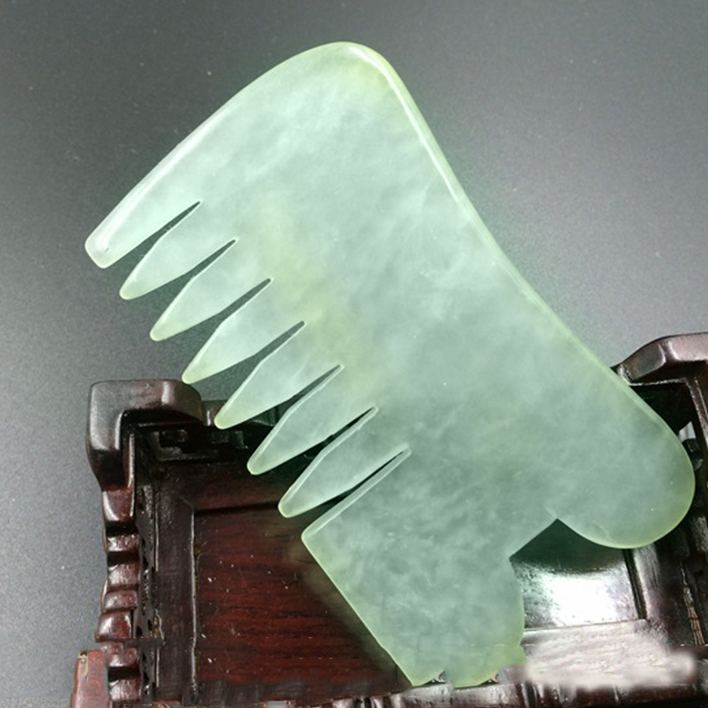 1pcs Natural Combs Jade Guasha Facial Massage Jade Roller Body Massager Beauty Tool