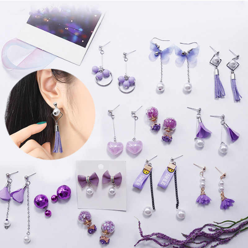 2019 New Arrival Purple Color 1Pair Unique Graceful 12 Models Long Tassel Drop Dangle Earring Wedding Jewelry boucle d'oreille