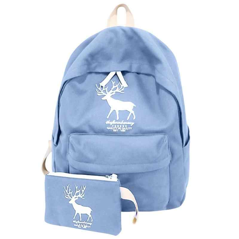 ac39ddecc 2Pcs/set Canvas Casual Backpack Cute Deer Preppy Style Girls School Backpack  Casual Women Travel