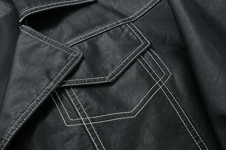 Manteau 2019 Noir eam Courte Marée Femmes En Black Ligne Fendue Manches Mode Longues Revers Veste Printemps Cuir Jg810 Nouveau De Commune Pu pagrp