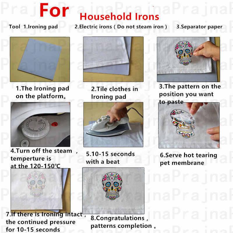 Prajna demir On transferi ısı transferi vinil giyim için yamalar ceket termal İskelet yama kalp PVC aplike rozet yıkanabilir