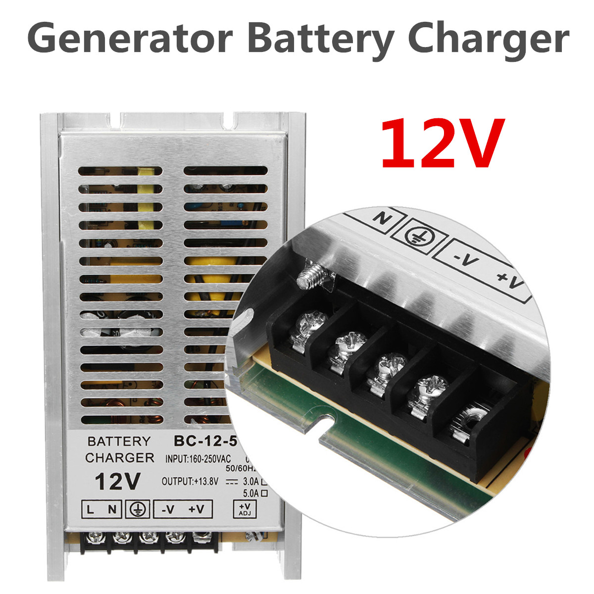 12V Rechargeable Float Battery Charger For Diesel Generator Engine Power Supply for Lead-acid Batterie Protection Aluminum Alloy12V Rechargeable Float Battery Charger For Diesel Generator Engine Power Supply for Lead-acid Batterie Protection Aluminum Alloy