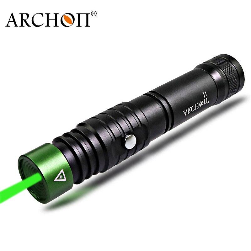 ARCHON J1 100m pointeur de plongée vert pointeurs torche puissant Led lampe de poche tactique 18650 batterie en option