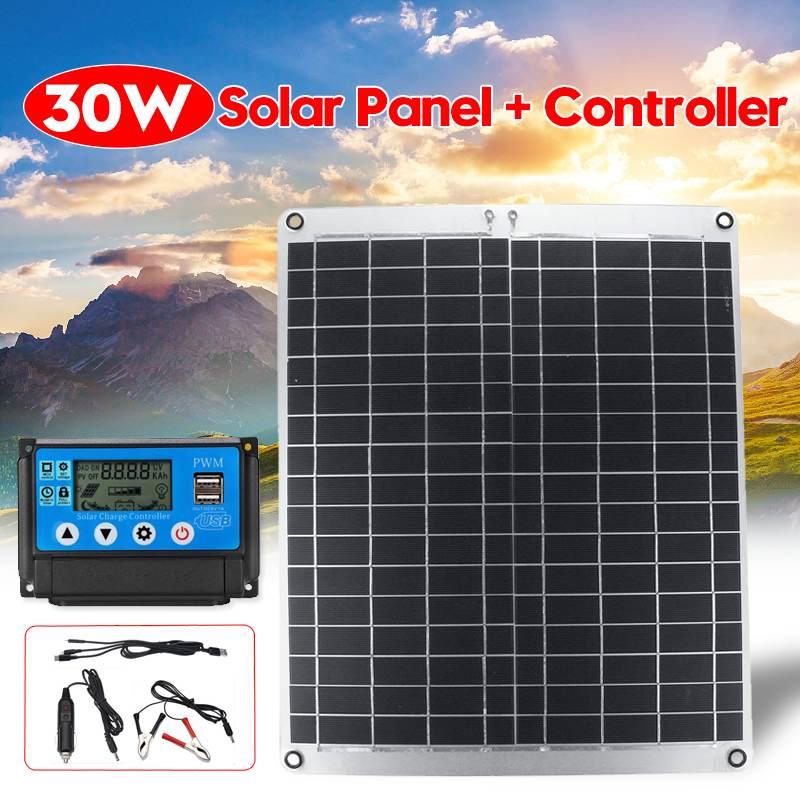 Module solaire Flexible de cellules de panneau solaire de 30 w + contrôleur de 10/20/30/40/50A pour le Yacht de voiture lumière LED chargeur extérieur de bateau de batterie de 12 V