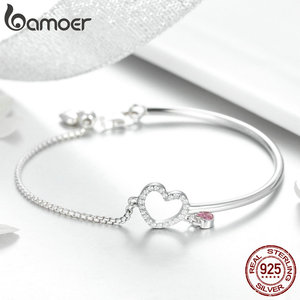 Image 3 - BAMOER Romantic New 100% 925 Sterling Silver Heart Pink CZ Chain Link Bangles Bracelets for Women Sterling Silver Jewelry SCB117