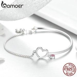 Image 3 - Bamoer ロマンチック新 100% 925 スターリングシルバーハートピンク cz チェーンリンク腕輪ブレスレット女性のためのスターリングシルバージュエリー SCB117