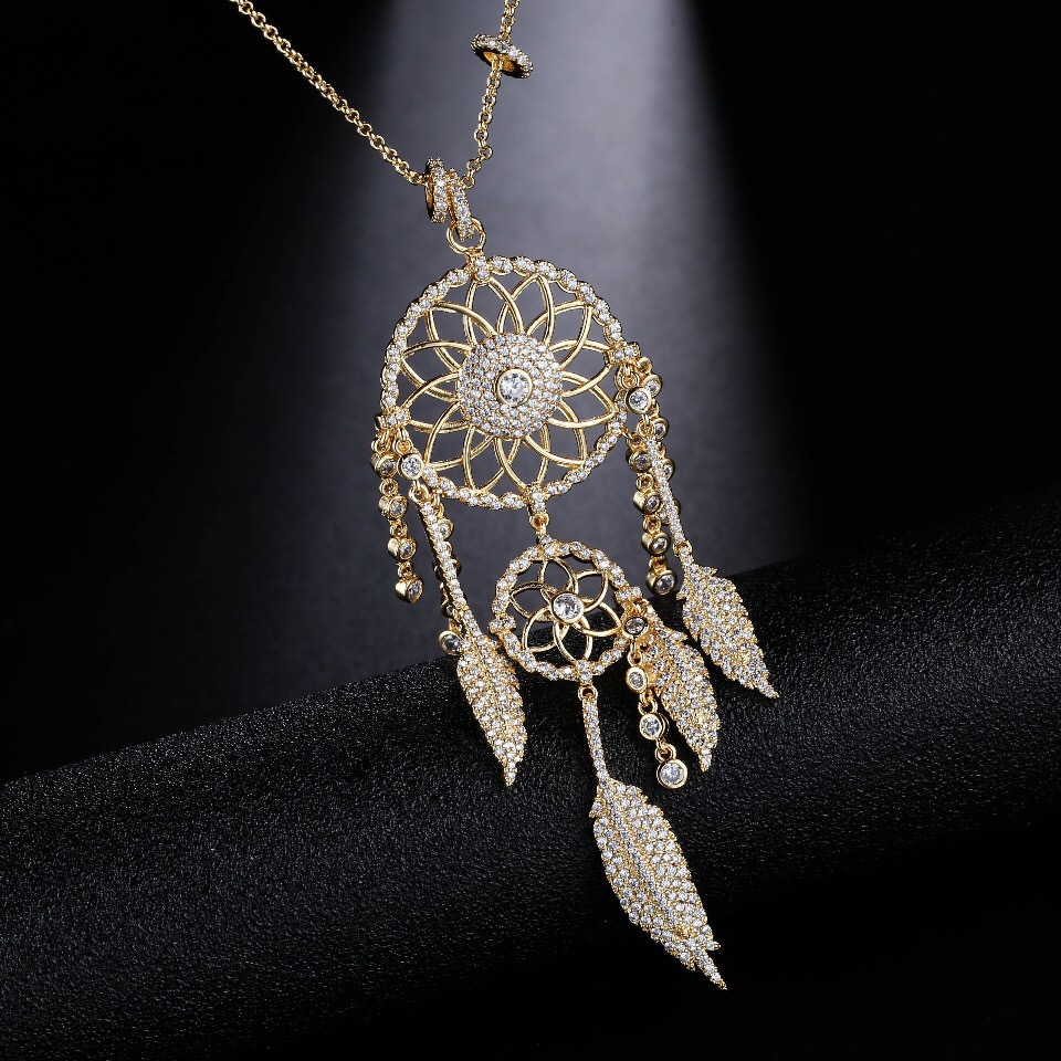 UMGODLY New Arrival Luxury Cubic Zirconia Indians Dream Catcher Necklaces Leaves Gold Color Pendant Women Fashion Jewelry Gift