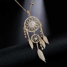 UMGODLY חדש הגעה יוקרה מעוקב Zirconia אינדיאנים לוכד חלומות שרשראות עלים זהב צבע תליון נשים תכשיטים מתנה