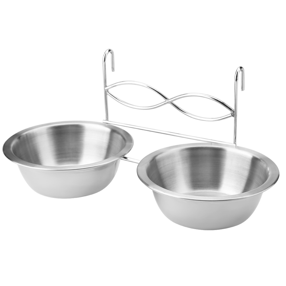 TINGHAO Stainless Steel Dual Hanging Food Water Bowl Feeder With Hook For Cat font b Pet