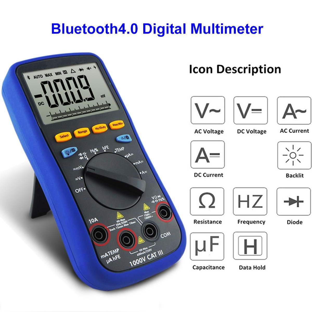 Testeur bluetooth Lcd multimètre numérique 4.0 fil de Test k-type Thermocouple 6000 compte rétro-éclairage réel 10 m Ohms multimètre numérique
