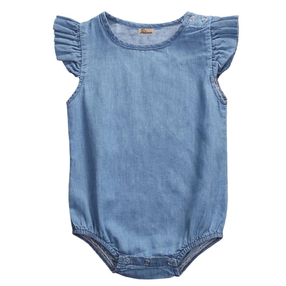 Summer 2018 Newborn Infant Baby Girls Denim Romper Lotus Sleeve Jumpsuit Clothes Playsuit Outfit
