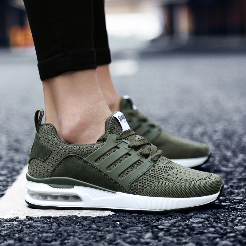 Professional Air Cushion Mesh Breathable Running Shoes Army Green Spring Autumn Walking Shoes Men Women Sneakers
