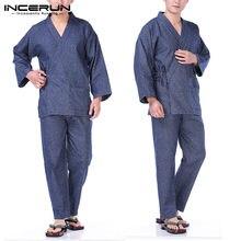 05cc0c6da Moda de hombre suelto camisón Yukata traje de baño Albornoz pijamas  conjuntos trajes otoño Kimono pijama