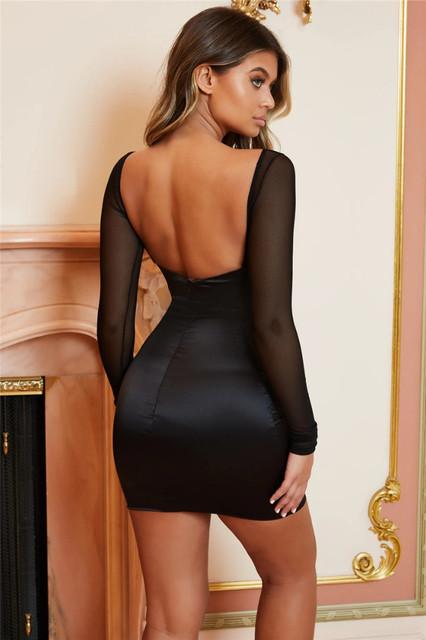 Long sleeve satin womens black mini dress