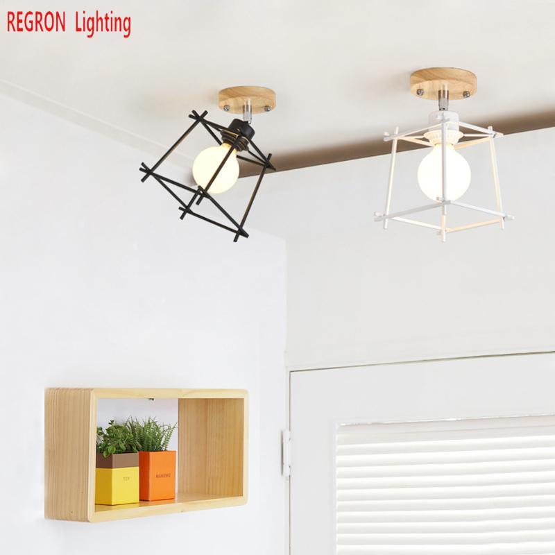 Bar Art Deco Mini Plafond Verlichting Voor Balkon Woonkamer Hal Nordic Novelty Led Plafond Lamp Hout Ijzer Wandkandelaar Armaturen Minder Duur