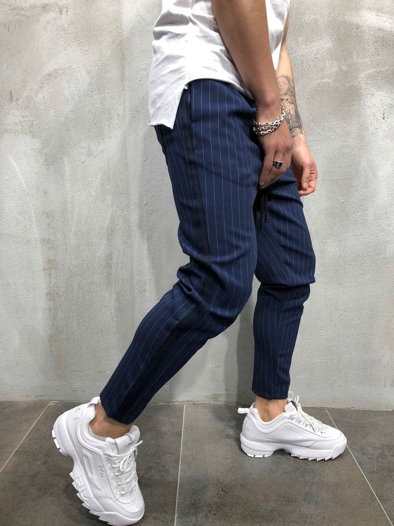 Thefound  2019 New Mens Fashion Skinny Stretch Jogger Trousers Slim Fit Straight Leg Suit Pants