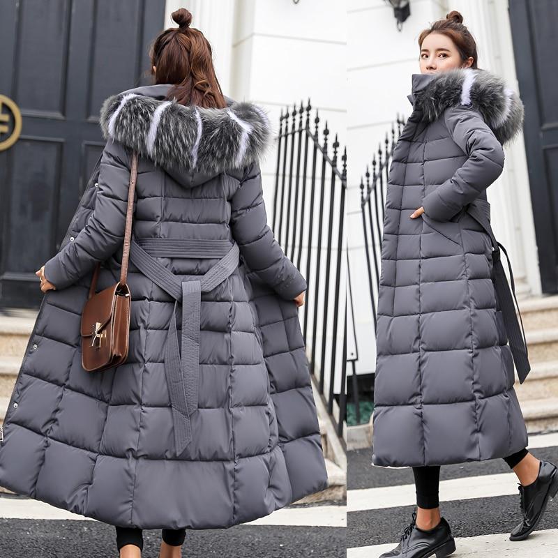 Cotton Hot Sale Solid Full Pockets Zippers Female Long Coat 2018 New Slim Parka Padded Jacket Winter Thick Warm Windbreaker