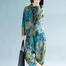 New Arrival Female Casual Floral Print Loose Sets Spring Autumn Long Sleeve Ankle-Length Pants Two Piece Suits