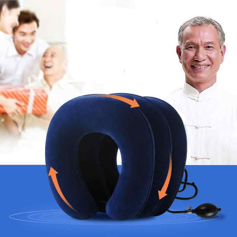 U-شكل وسادة الرقبة 3 طبقات لينة نفخ وسادة الهواء عنق الرحم الجر الصداع الرقبة لتخفيف الآلام الرعاية الصحية لكبار السن