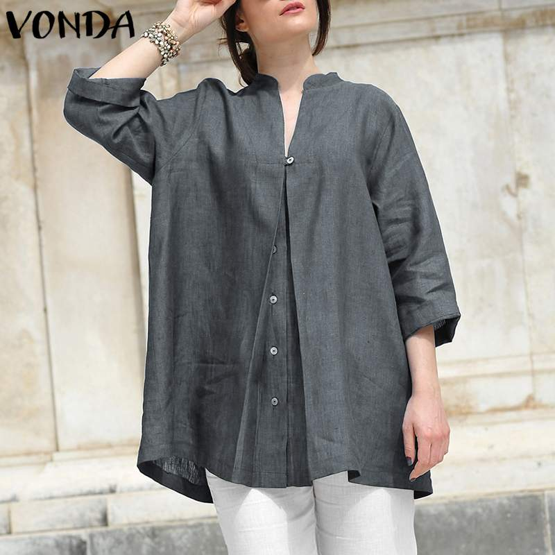 VONDA Women   Blouses     Shirts   2019 Autumn Retro Sexy V Neck 3/4 Sleeve Solid Tops Casual Loose Plus Size Buttons Blusas Femininas