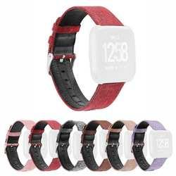 Холщовые кожаные Регулируемые часы браслет ремешок для Fitbit Versa
