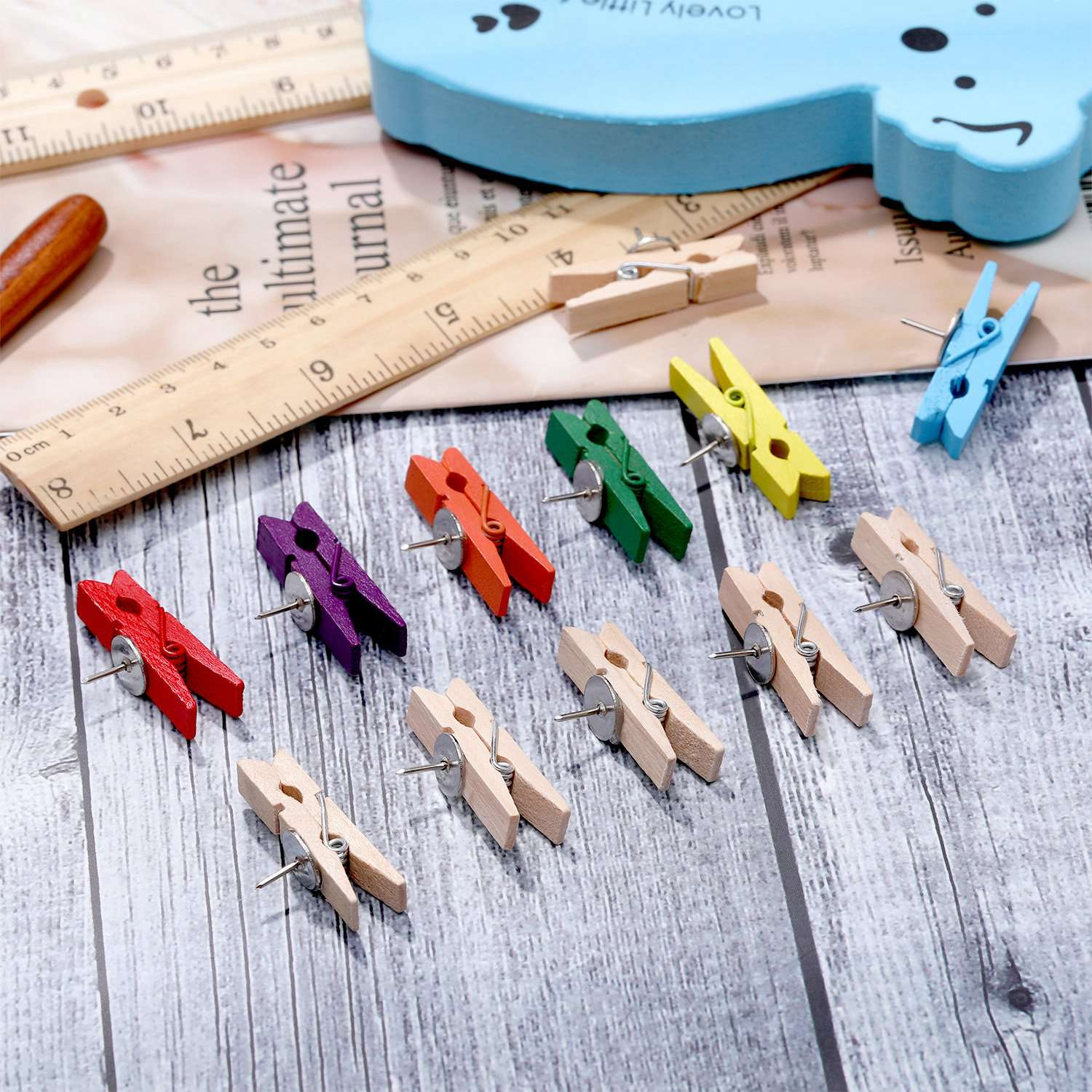 Push Pins With Wooden Clips Paper Clips Push Pins Tacks Thumbtacks For Photos Craft Projects Bulletin Boards Cork Boards (100