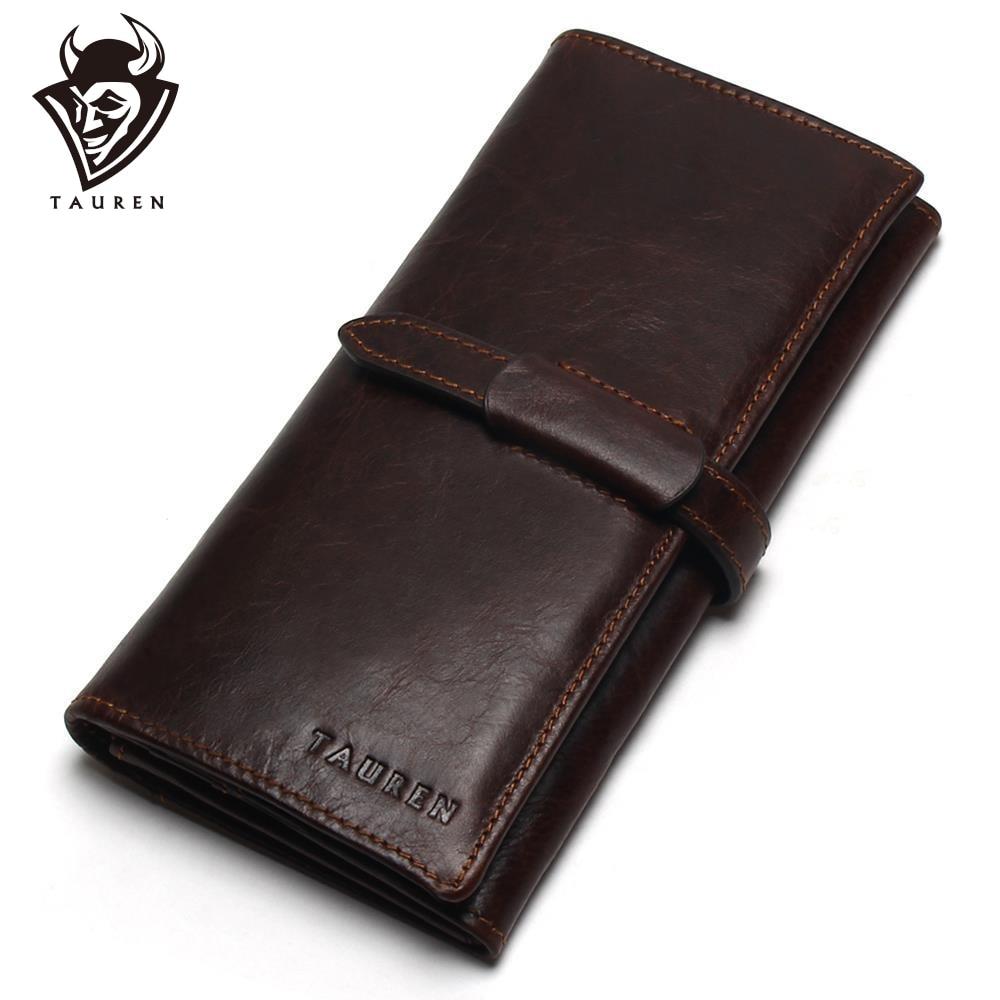 Új, luxus márka 100% -os felső valódi tehénbőr bőr kiváló minőségű férfi hosszú pénztárca érme erszényes Vintage tervező férfi Carteira pénztárca