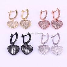 5 para Mix kolor pełna CZ Micro betonowa serce zwisające kolczyki CZ kobiety biżuteria dynda kolczyk na prezent