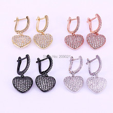 5Pair Mix Color Full CZ Micro Paved heart Dangling Earrings CZ Women Jewelry Dangle Earring for Gift