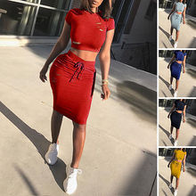 New Fashion Two Piece Set Summer Dresses Women Sexy Patchwork Cocktail Party Bodycon Bandage Dress Wholesale