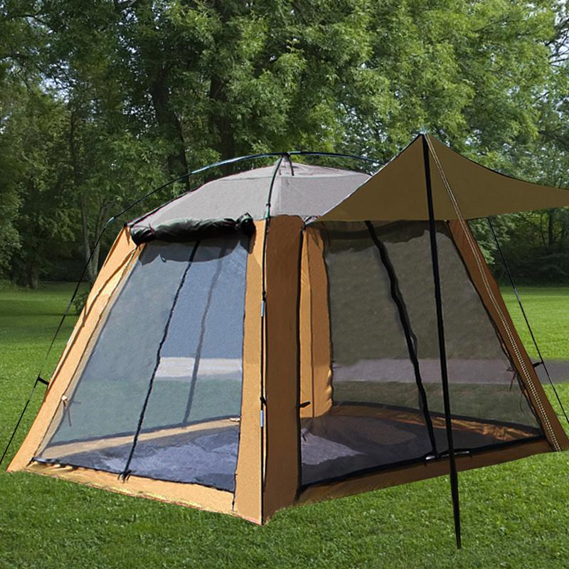 Tente extérieure Camping gaze filet respirant crème solaire fenêtre de porte à quatre côtés respirant Anti-moustique 3 à 4 personnes tente de pêche