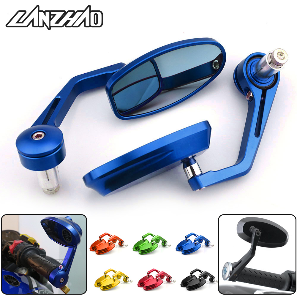 7/8 22MM Full CNC Motorcycle Handlebar Bar End Rearview Rear View Side Mirrors Blue Convex Glass Universal for Yamaha MT07 MT097/8 22MM Full CNC Motorcycle Handlebar Bar End Rearview Rear View Side Mirrors Blue Convex Glass Universal for Yamaha MT07 MT09