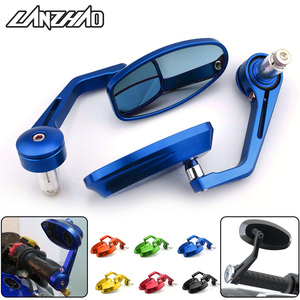 "7/8"" 22MM Full CNC Motorcycle Handlebar Bar End Rearview Rear View Side Mirrors Blue Convex Glass Universal for Yamaha MT07 MT09(China)"