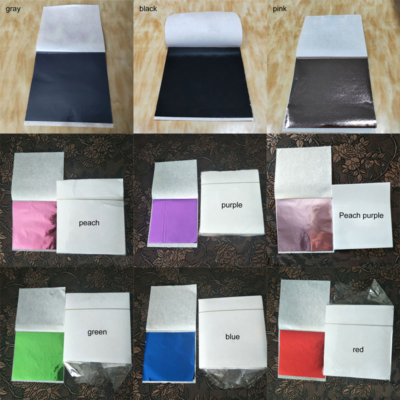 Foil Papers 9*9CM Design Paper Imitation Gold Sliver Copper Art Craft DIY Craft Decor Leaf Leaves Sheets Gilding 100Pcs