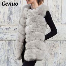 Genuo sleeveless fur coat women faux vest jacket fox waistcoat woman natural gilet femme high quality Winter tops