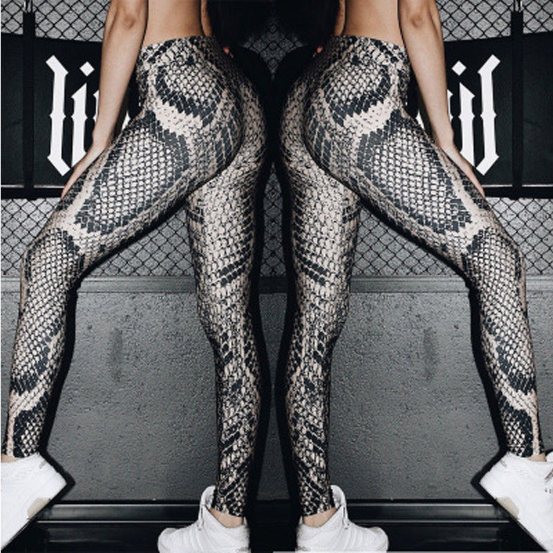 Plus Size Snake Skin Print   Leggings   Elastic High Waist Female Slim   Leggings   Women Trousers Pants Large Size