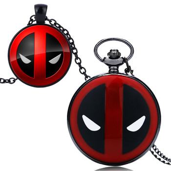 Marvel Deadpool Collier Noir Et Rouge Couleur Quartz Montre De Poche Pour Hommes Montres Cadeaux Ensemble Pour Garçons Enfants Cadeaux D'anniversaire Boîte