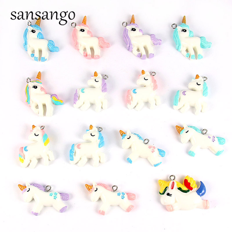 15pcs/pack Diy Chunky Resin Unicorn Pendant Jewelry Findings Mixed Color Charms Handmade Necklace Girls Kids Accessory