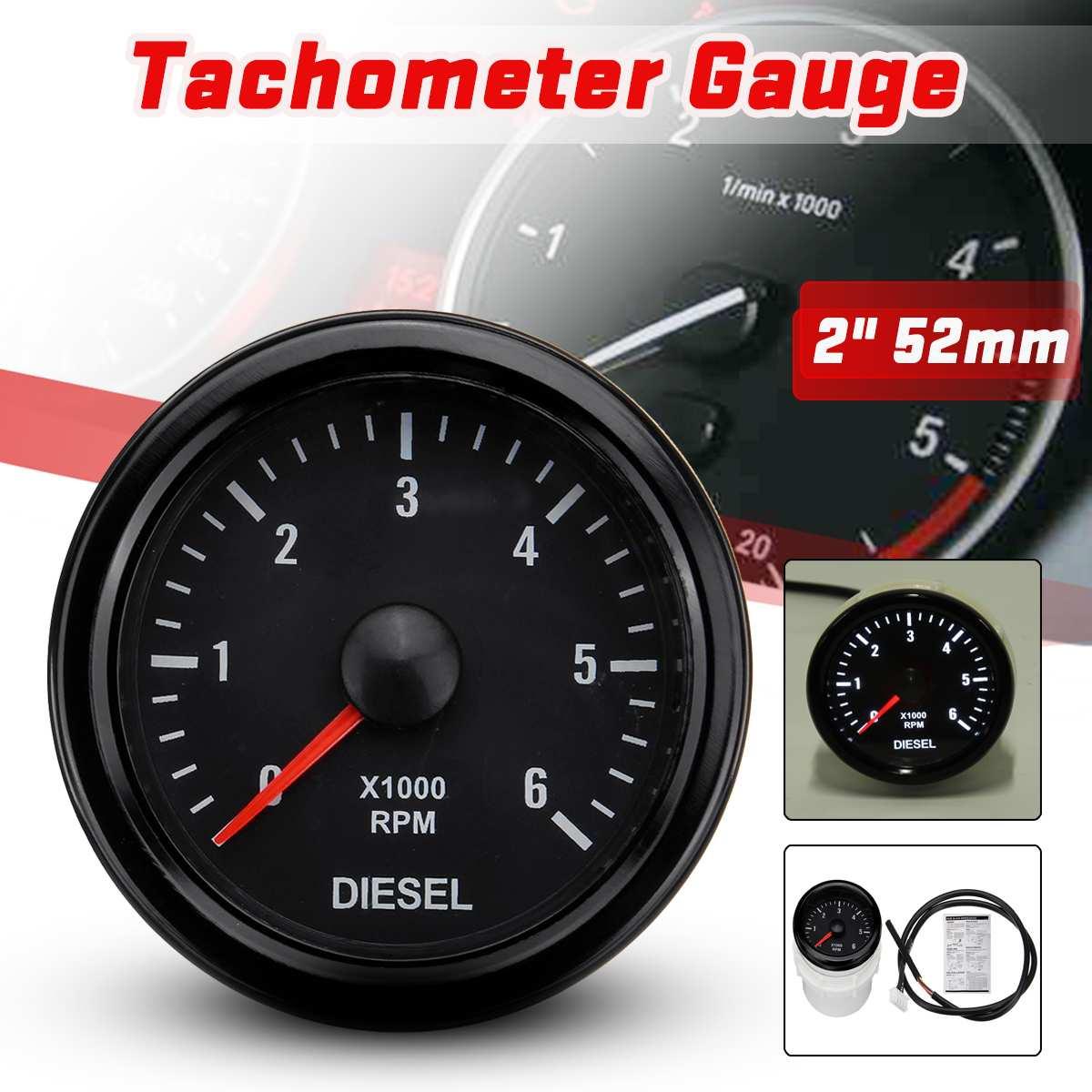 52mm 0-6000 RPM (Em traço) Branco Bitola Tachometer Elétrica Para O Motor Diesel Do Motor