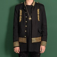 Gold Embroidery Club Party Blazer Men Stage Suit Jacket Men Single Breasted Gold Black Luxury Banquet Jacket Blazer Masculino